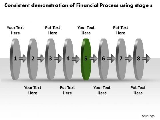 Consistent Demonstration Of Financial Process Using Stage 8 Flowchart PowerPoint Slides
