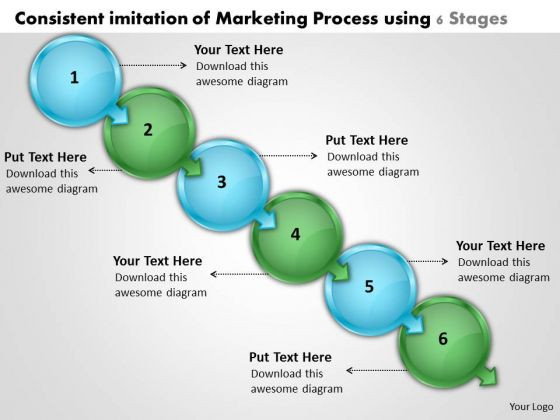 Consistent Imitation Of Marketing Process Using 6 Stages Flow Chart Creator Free PowerPoint Slides