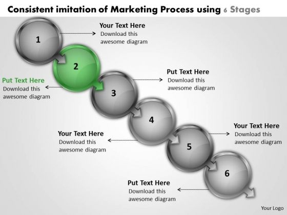 Consistent Imitation Of Marketing Process Using 6 Stages Flowchart For PowerPoint Templates