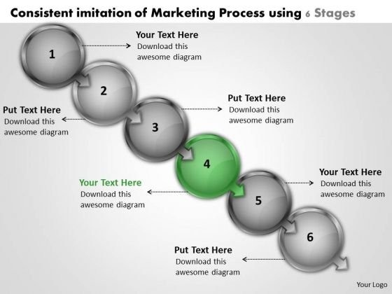 Consistent Imitation Of Marketing Process Using 6 Stages Network Map PowerPoint Templates
