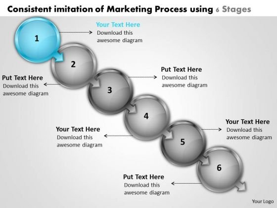 Consistent Imitation Of Marketing Process Using 6 Stages Online Flowchart Maker PowerPoint Templates