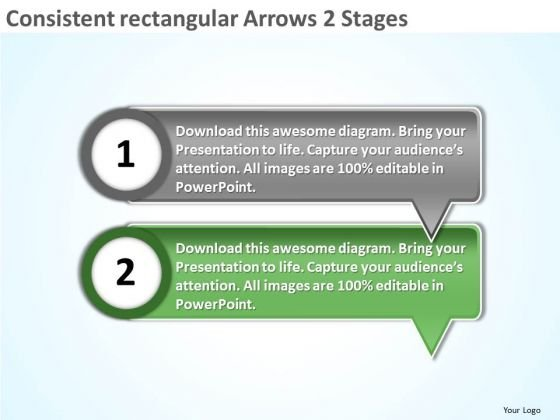 Consistent Rectangular Arrows 2 Stages Flowchart Application PowerPoint Slides