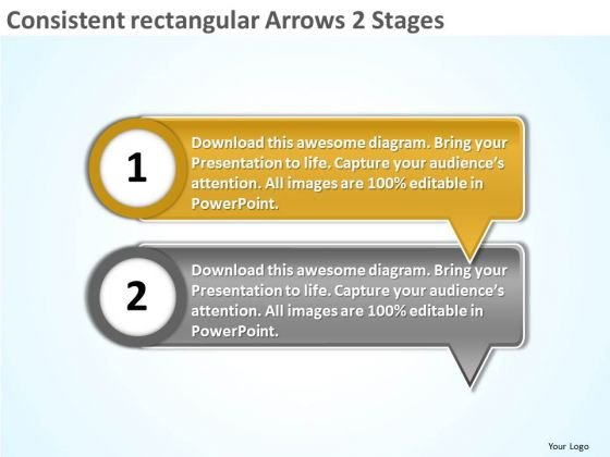 Consistent Rectangular Arrows 2 Stages Ppt Flowchart PowerPoint Freeware Slides