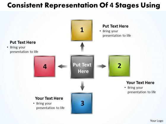 Consistent Representation Of 4 Stages Using Circular Flow Process PowerPoint Slides