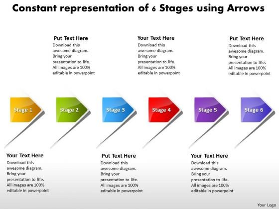 Constant Representation Of 6 Stages Using Arrows Flowchart PowerPoint Freeware Templates