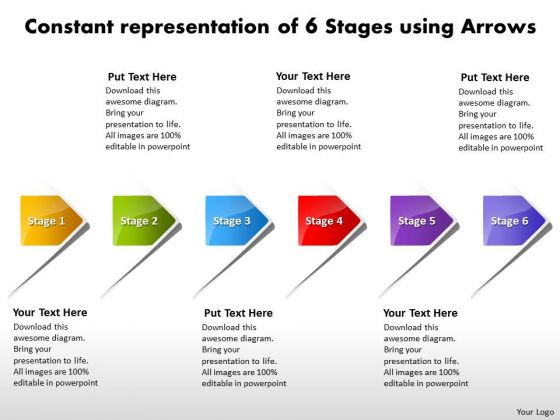 Constant Representation Of 6 Stages Using Arrows Vision Flowchart Templates PowerPoint Slides