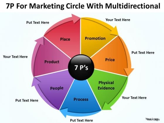 Consulting PowerPoint Template For Marketing Circle With Multidirectional Ppt Slides