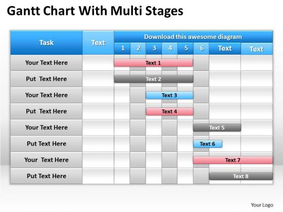 Consulting PowerPoint Template Gantt Chart With Multi Stages Ppt Slides