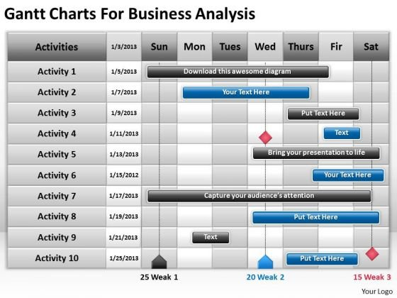 Consulting Powerpoint Template Gantt Charts For Business Analysis