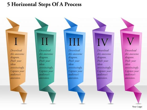 Consulting Slides 5 Horizontal Steps Of A Process Business Presentation