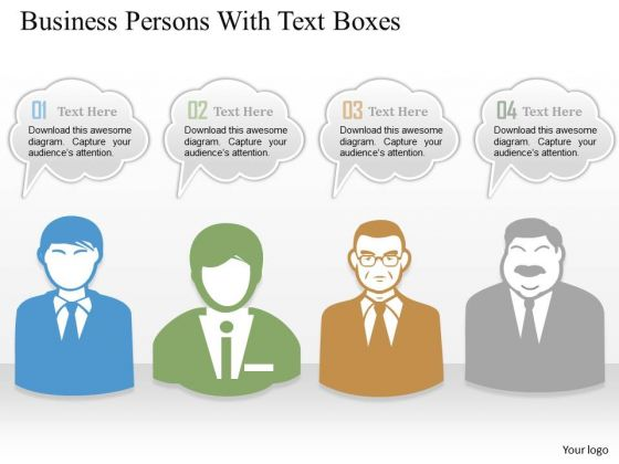 Consulting Slides Business Persons With Text Boxes Business Presentation