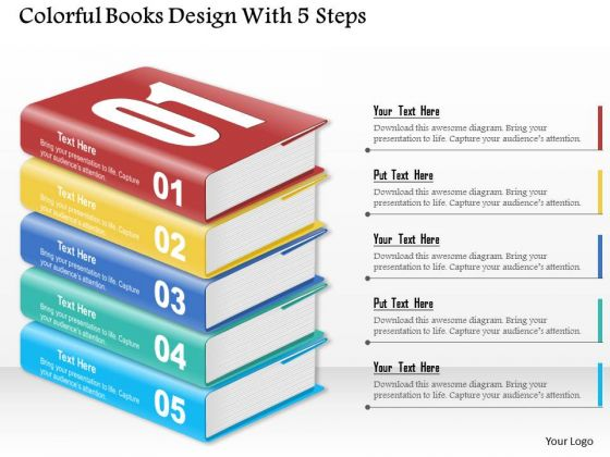 Consulting Slides Colorful Books Design With 5 Steps Business Presentation