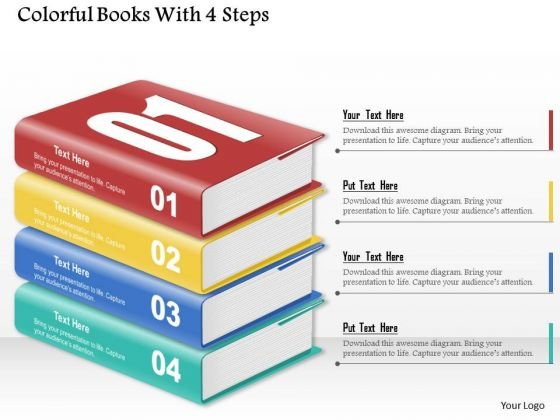 Consulting Slides Colorful Books With 4 Steps Business Presentation