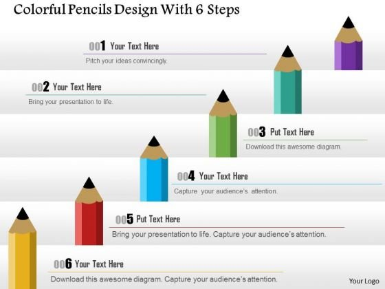Consulting Slides Colorful Pencils Design With 6 Steps Business Presentation