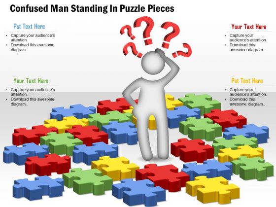 Consulting Slides Confused Man Standing In Puzzle Pieces Business Presentation