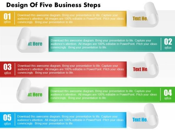 Consulting Slides Design Of Five Business Steps Business Presentation