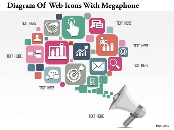 Consulting Slides Diagram Of Web Icons With Megaphone Business Presentation