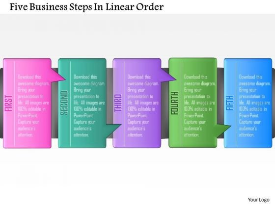 Consulting Slides Five Business Steps In Linear Order Business Presentation
