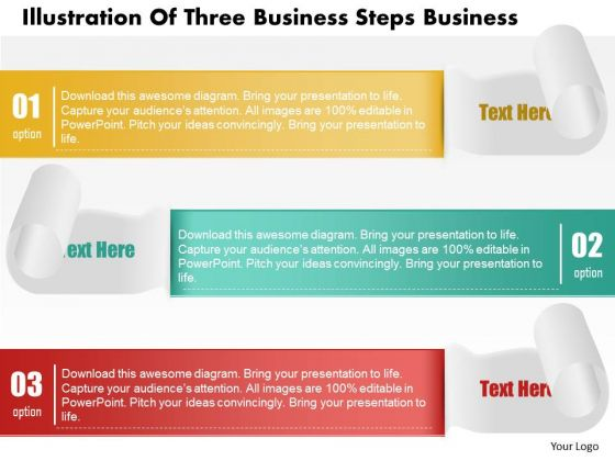 Consulting Slides Illustration Of Three Business Steps Business Presentation