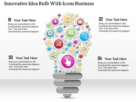 consulting slides innovative idea bulb with icons business