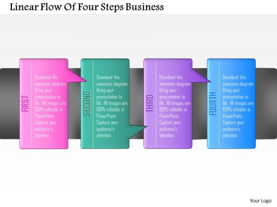 Consulting Slides Linear Flow Of Four Steps Business Presentation