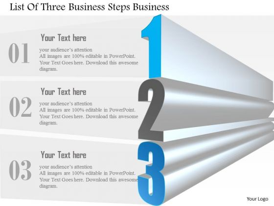 Consulting Slides List Of Three Business Steps Business Presentation
