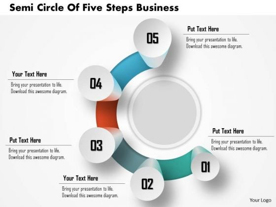 Consulting Slides Semi Circle Of Five Steps Business Presentation