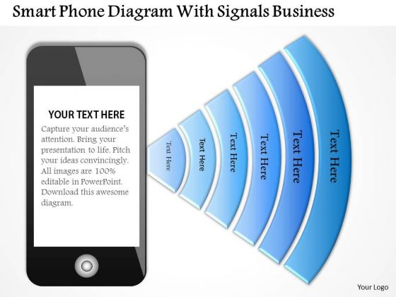 Consulting Slides Smart Phone Diagram With Signals Business Presentation
