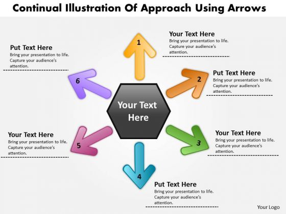Continual Illustration Of 6 Approach Using Arrows Pie Diagram PowerPoint Templates