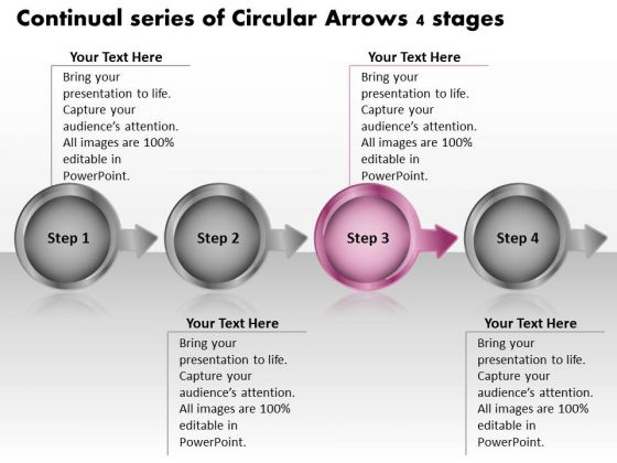 Continual Series Of Circular Arrows 4 Stages Ppt Change Order Process Flow Chart PowerPoint Slides