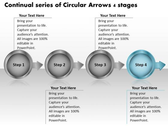 Continual Series Of Circular Arrows 4 Stages Processing Flow Chart PowerPoint Slides