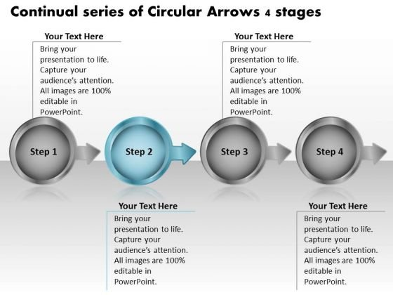 Continual Series Of Circular Arrows 4 Stages Technical Flow Chart PowerPoint Templates