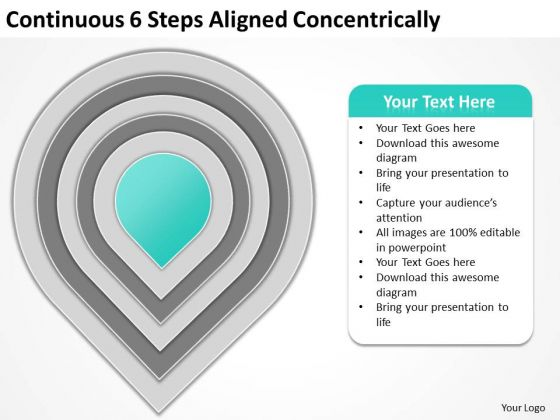 Continuous 6 Steps Aligned Concentrically Sales Plan PowerPoint Templates
