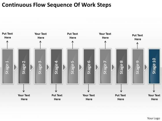 Continuous Flow Sequence Of Work Steps Business Free Flowchart Maker PowerPoint Slides