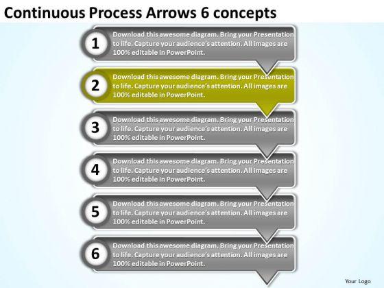 Continuous Process Arrows 6 Concepts Create Flowchart PowerPoint Slides