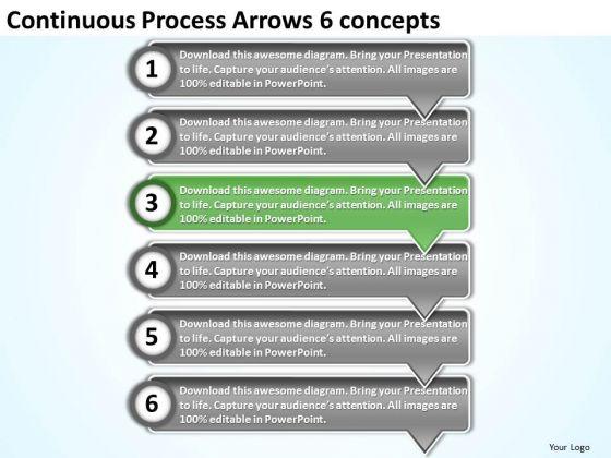 Continuous Process Arrows 6 Concepts Flow Chart Creator Online PowerPoint Slides