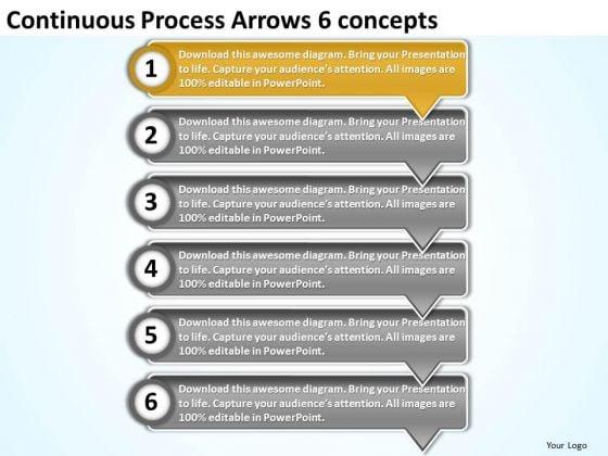Continuous process arrows 6 concepts free flow chart maker continuous process arrows 6 concepts free flow chart maker powerpoint templates powerpoint templates ccuart Images