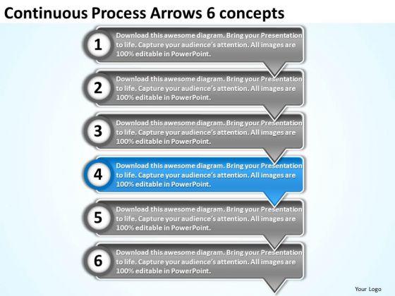 Continuous Process Arrows 6 Concepts PowerPoint Flow Charts Templates