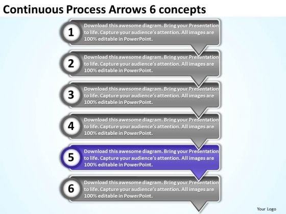 Continuous Process Arrows 6 Concepts Ppt Freeware Flowchart PowerPoint Templates