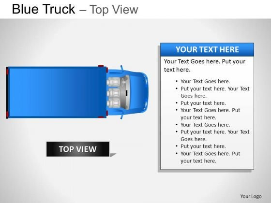 Convention Blue Truck Top View PowerPoint Slides And Ppt Diagram Templates
