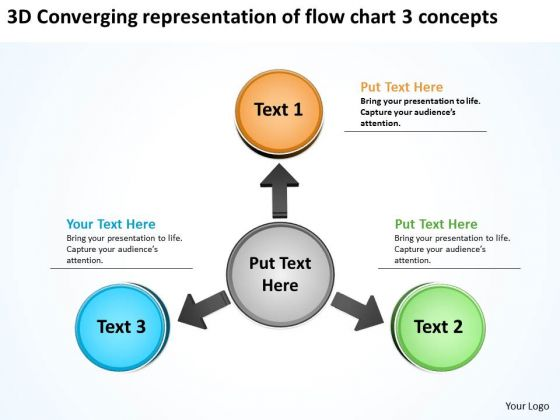 Converging Representation Of Flow Chart 3 Concepts Charts And Diagrams PowerPoint Templates