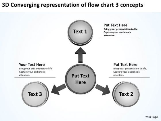 Converging Representation Of Flow Chart 3 Concepts Cycle Motion Network PowerPoint Templates