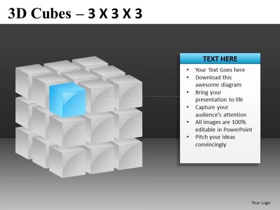 Corner Piece 3d Cube PowerPoint Templates