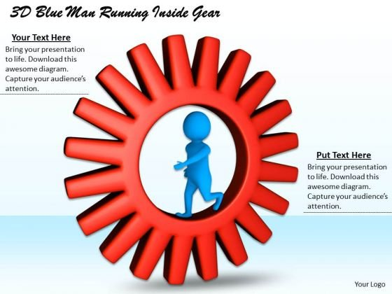 Corporate Business Strategy 3d Blue Man Running Inside Gear Adaptable Concepts