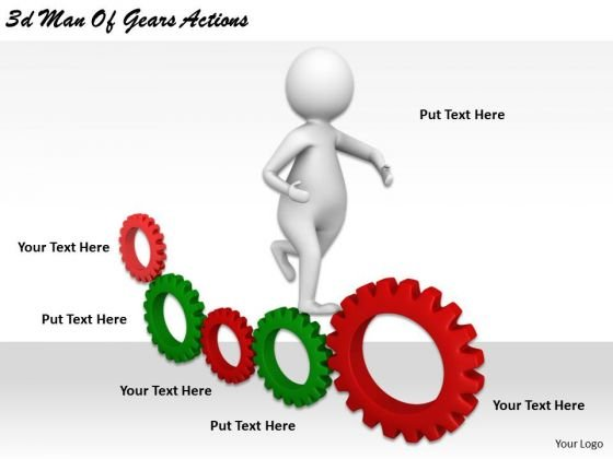 Corporate Business Strategy 3d Man Of Gears Actions Concept Statement
