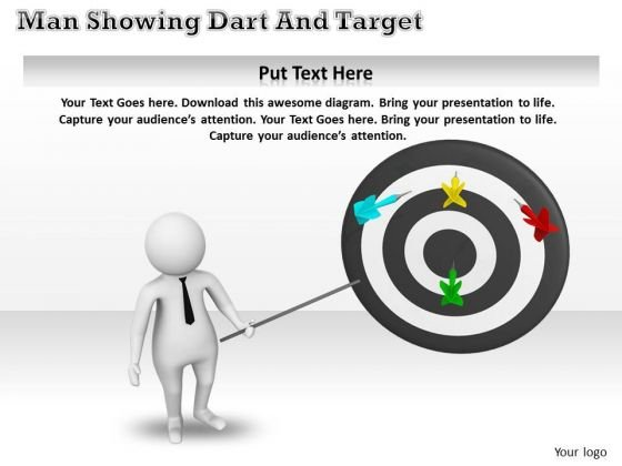 Corporate Business Strategy 3d Man Pointing On Targets Adaptable Concepts