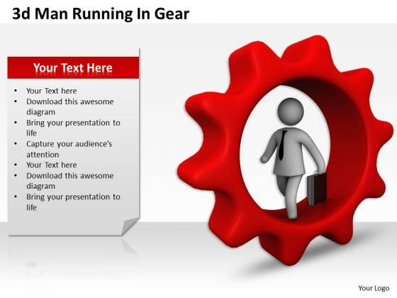 Corporate Business Strategy 3d Man Running Gear Adaptable Concepts