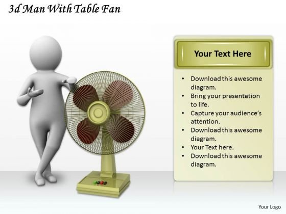 Corporate Business Strategy 3d Man With Table Fan Character Models