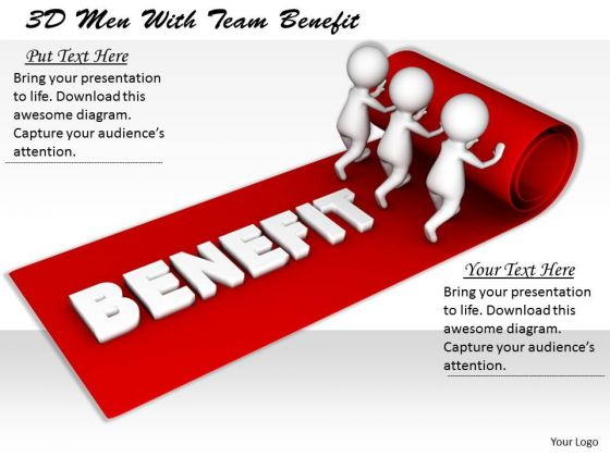 Corporate Business Strategy 3d Men With Team Benefit Concepts