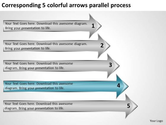 Corresponding 5 Colorful Arrows Parallel Process Business Plan Freeware PowerPoint Templates